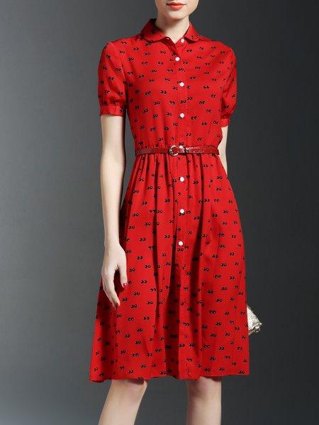 Red Work Sheath Printed Shirt Dress with Belt