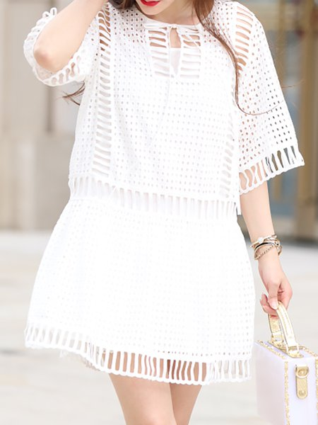 White Cutout Cotton Two Piece Half Sleeve Mini Dress