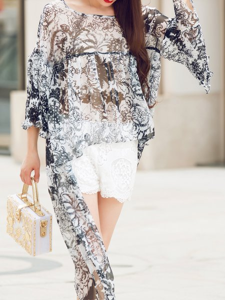 Gray See-through Look High Low Casual Chiffon Tunic
