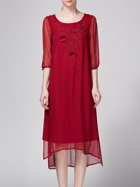 Crew Neck Vintage Embroidered 3/4 Sleeve Midi Dress