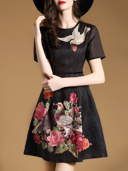 Black Polyester Short Sleeve Printed Mini Dress