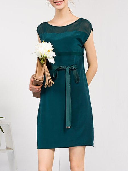 Green Plain Sleeveless Silk Mini Dress
