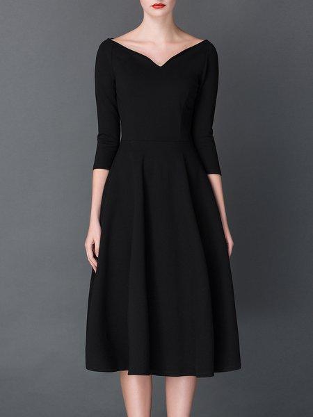 Bateau/boat Neck Casual Spandex 3/4 Sleeve Pleated Midi Dress