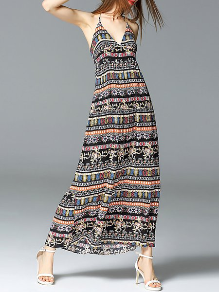 Tribal Spaghetti Beach Printed Maxi Dress