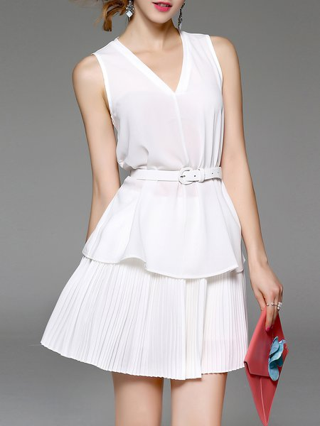Sleeveless Two Piece Chiffon V Neck Work Mini Dress with Belt