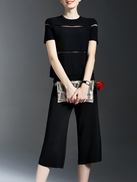 Black Knitted Short Sleeve Two Piece Crew Neck Jumpsuit