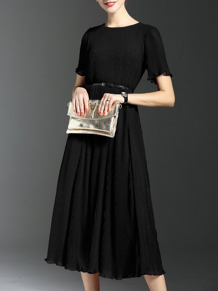 Black Chiffon Ribbed Casual Short Sleeve Midi Dress with Belt