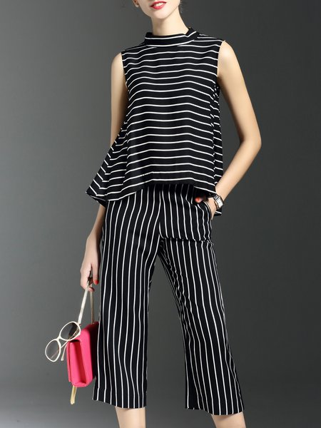 Sleeveless Stripes Work Pockets Two Piece Jumpsuit