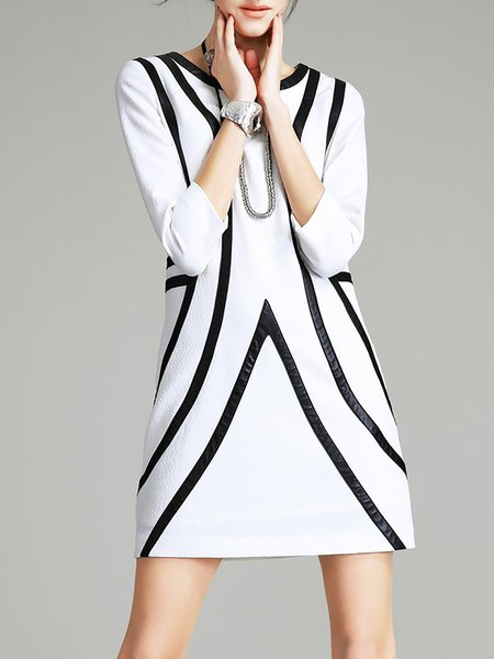 Stripes Crew Neck 3/4 Sleeve Casual Mini Dress