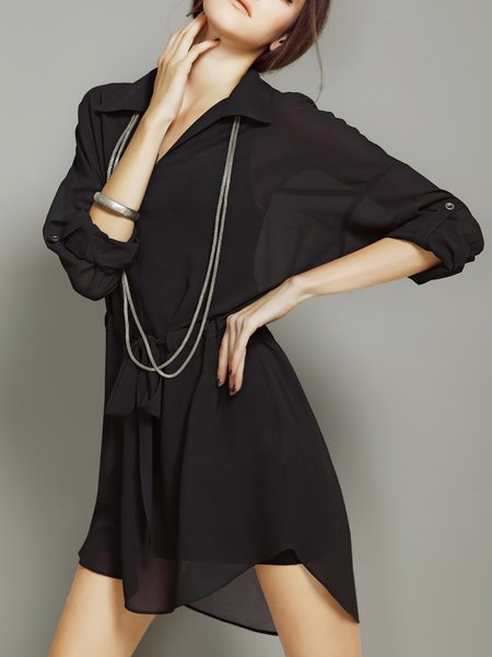 Long Sleeve Simple Shirt Collar Shirred Mini Dress
