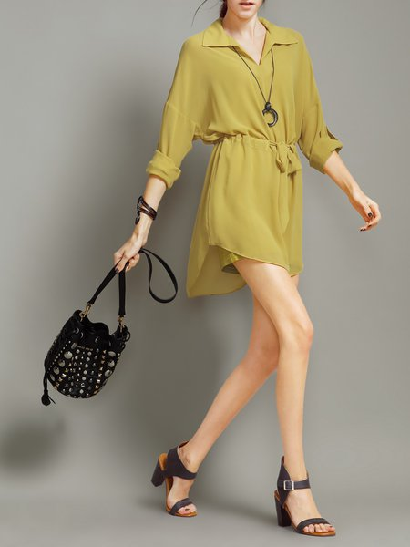 Resultado de imagen para Yellow Shirred Simple Shirt Collar Mini Dress