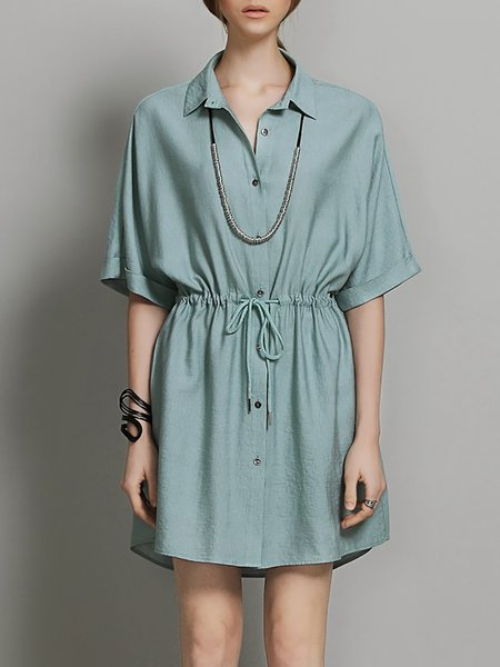 Light Green Simple Plain V Neck Shift Mini Dress