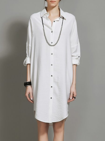 Shift Long Sleeve Work High Temperature Setting Shirt Dress