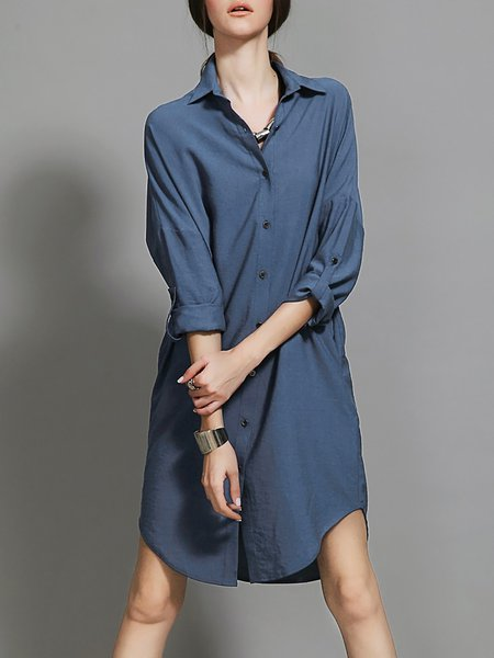 Simple V Neck Shift Long Sleeve Paneled Shirt Dress