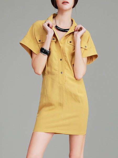 Symmetric Simple Woven Sheath Batwing Mini Dress