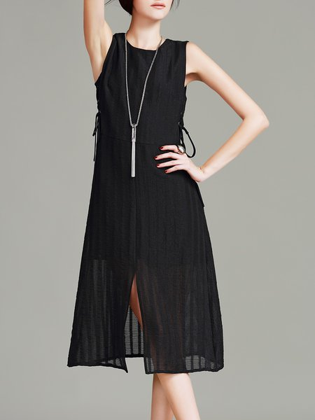 Black Sleeveless Bandage Plain A-line Midi Dress
