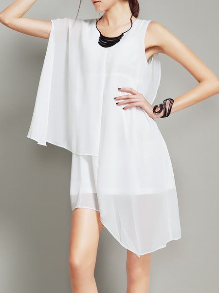Work V Neck Sleeveless Chiffon Asymmetric Mini Dress
