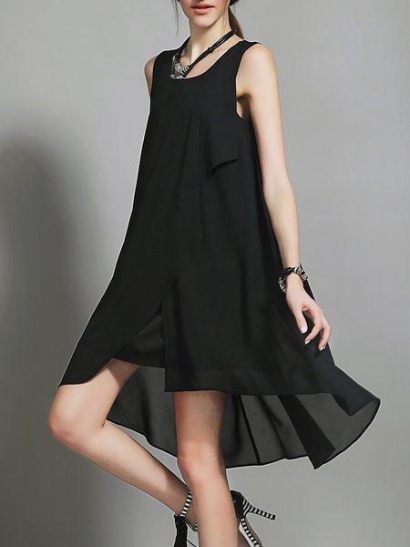 Black Plain Sleeveless Chiffon Midi Dress