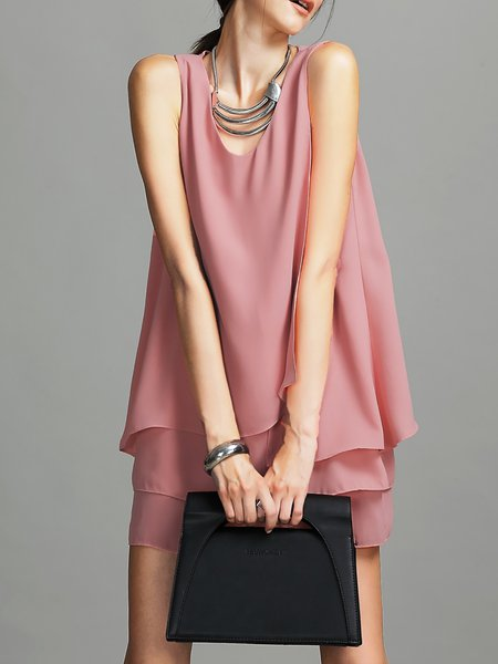 Sleeveless Simple V Neck H-line Chiffon Mini Dress
