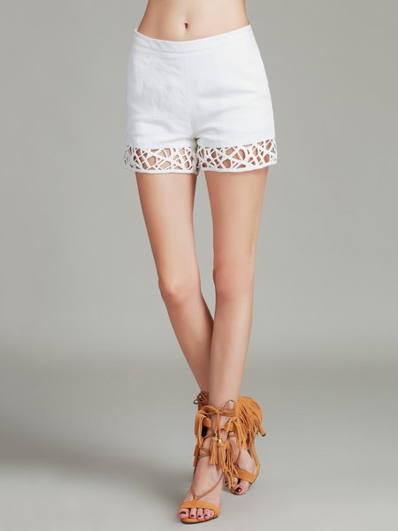 White Linen Casual Cutout Shorts