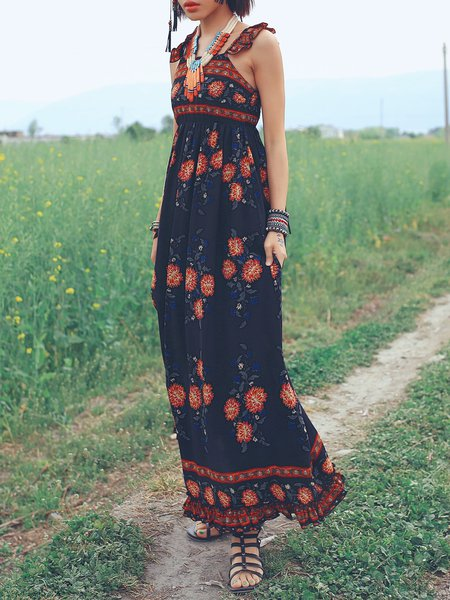 Resultado de imagen para Multicolor Swing BateauNeck Printed High-waist Maxi Dress