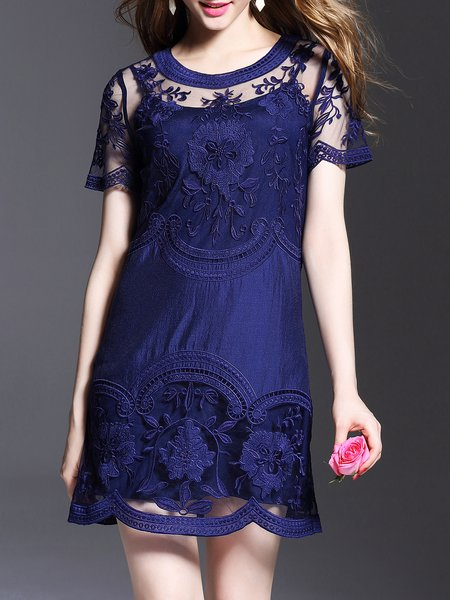 Dark Blue Crew Neck Sexy Mini Dress
