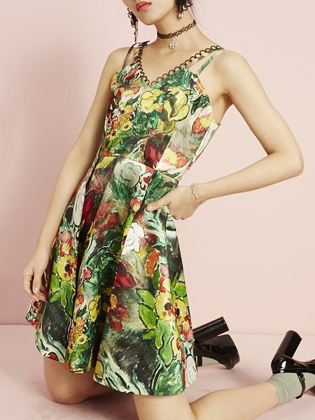 A-line Sleeveless Casual Printed Silk Mini Dress