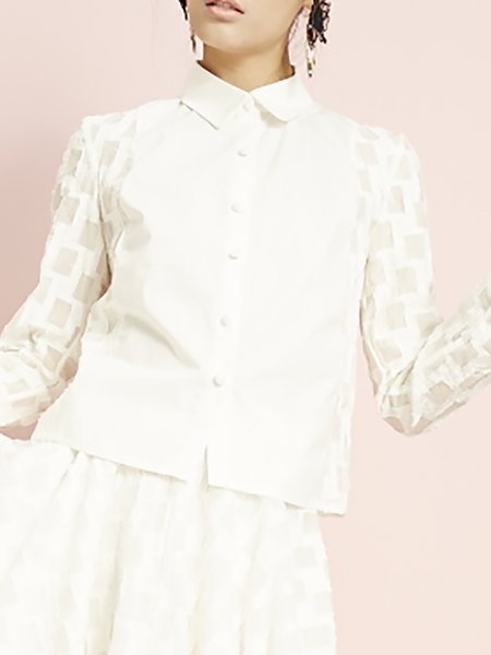 White Checkered Cotton Casual Blouse