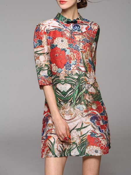 Multicolor Vintage Stand Collar Printed Mini Dress