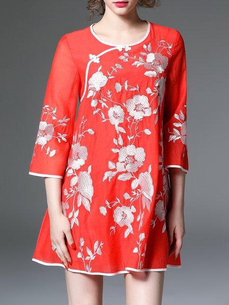 Embroidered 3/4 Sleeve Voile Vintage A-line Mini Dress