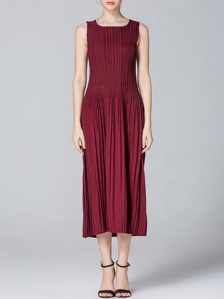 Wine Red Casual A-line Midi Dress