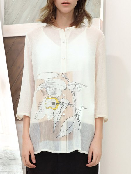 Apricot Stand Collar 3/4 Sleeve Blouse