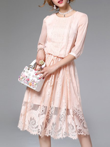 Embroidered 3/4 Sleeve Casual A-line Plain Midi Dress