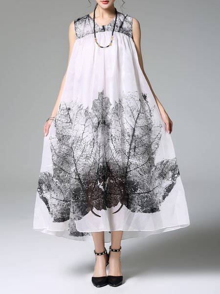 White Casual Silk Printed A-line Maxi Dress