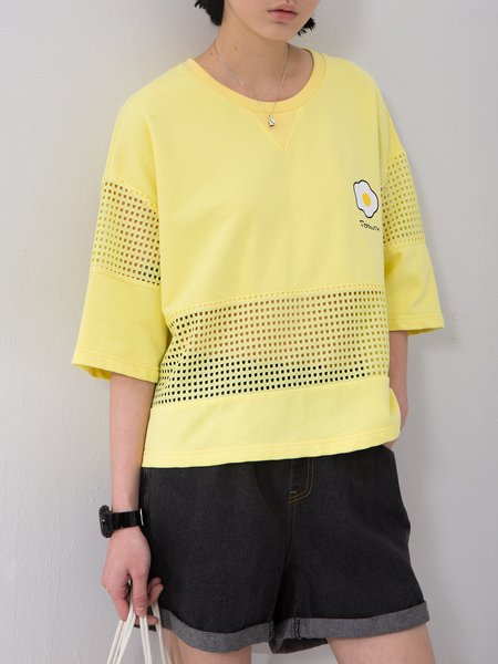 Yellow Crew Neck Shift Paneled Short Sleeved Top