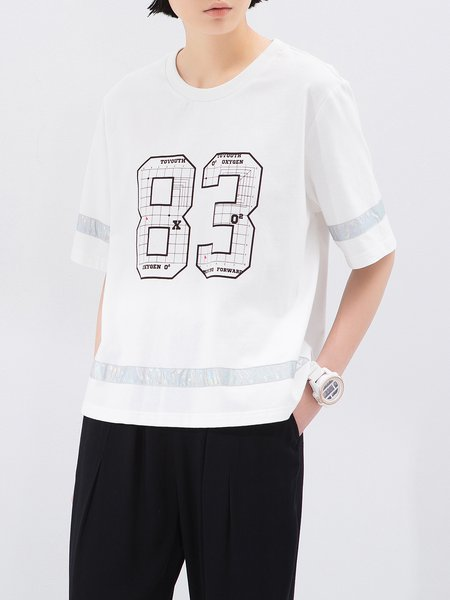 White Cotton Crew Neck Casual T-Shirt