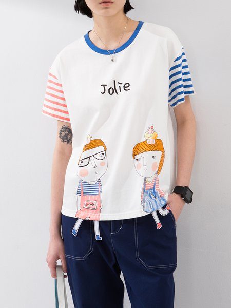 Cartoon Paneled Stripes Short Sleeve Cotton T-Shirt