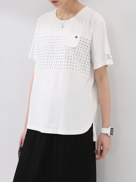 White Polka Dots Casual T-Shirt