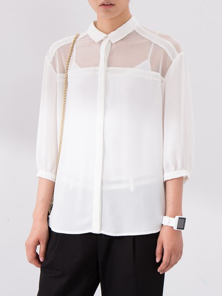 White 3/4 Sleeve Plain Paneled Shirt Collar Blouse