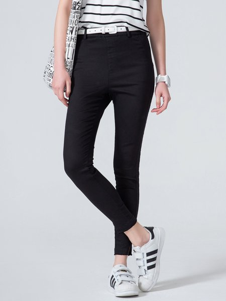 Black Cotton-blend Simple Plain Skinny Leg Pants