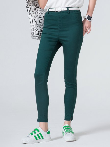 Army Green Cotton-blend Plain Simple Skinny Leg Pants