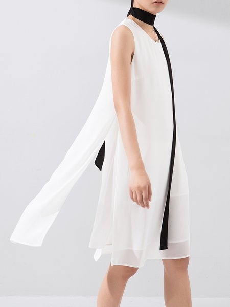 White Pockets Shift Sleeveless Plain Midi Dress