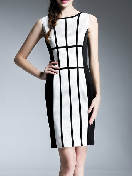 Sheath Geometric Sleeveless Sexy Midi Dress
