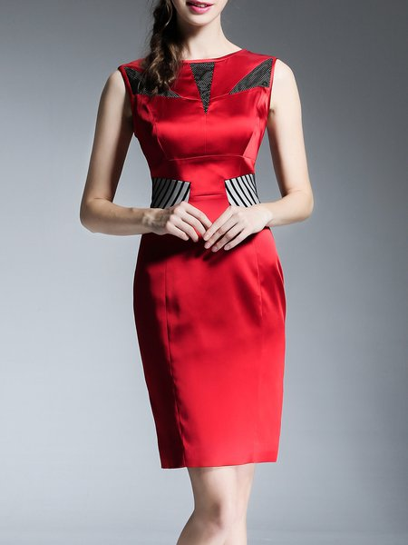 Red Sleeveless Sexy Acetate Sheath Zipper Midi Dress