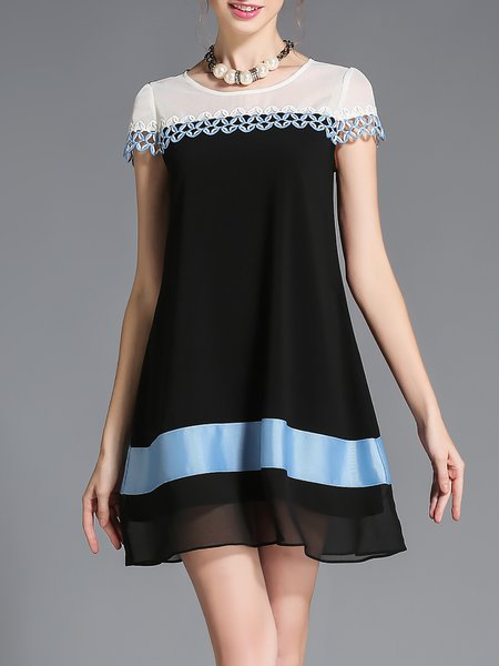 Girly A-line Paneled Short Sleeve Mini Dress