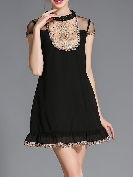 A-line Elegant Voile Short Sleeve Mini Dress