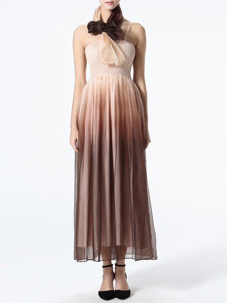 Ombre Shirred Spaghetti Sexy Midi Dress