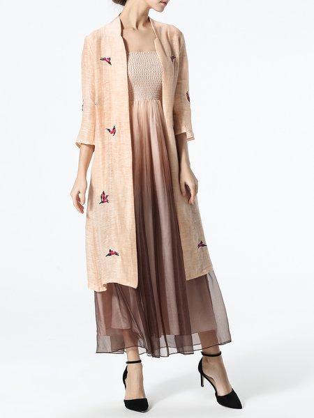 Beige Printed Linen 3/4 Sleeve Coat