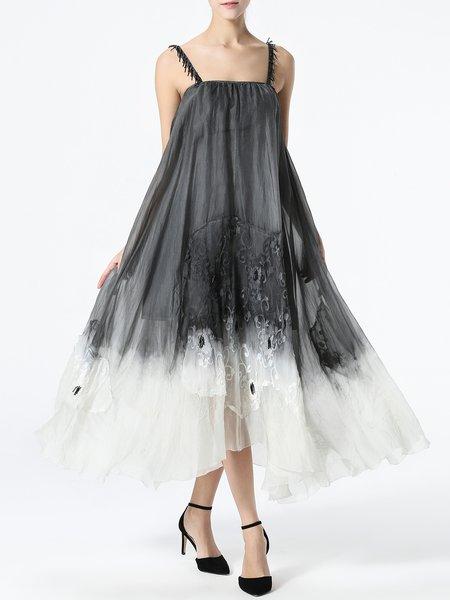 Gray Silk Gradient Spaghetti Swing Midi Dress