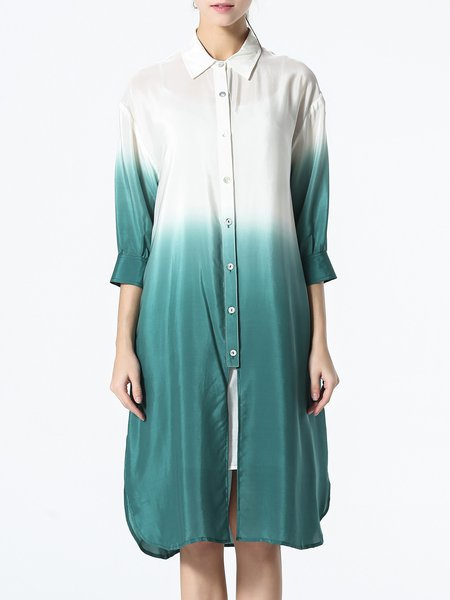 Green Ombre 3/4 Sleeve Shirt Dress